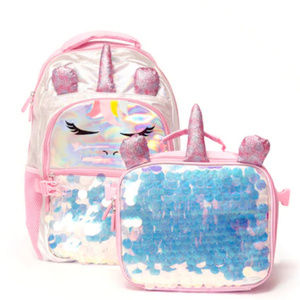 Girls Unicorn Back to School Backpack & Lunch Bag